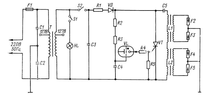 Схема электроподжига газовой плиты Гефест.